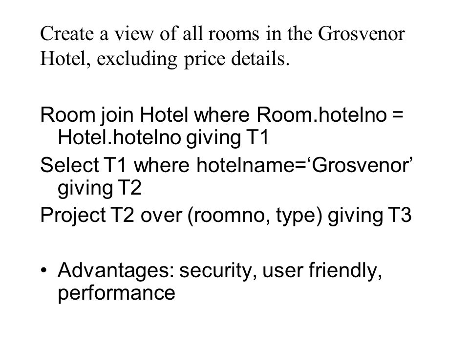 Create a view of all rooms in the Grosvenor Hotel, excluding price details.