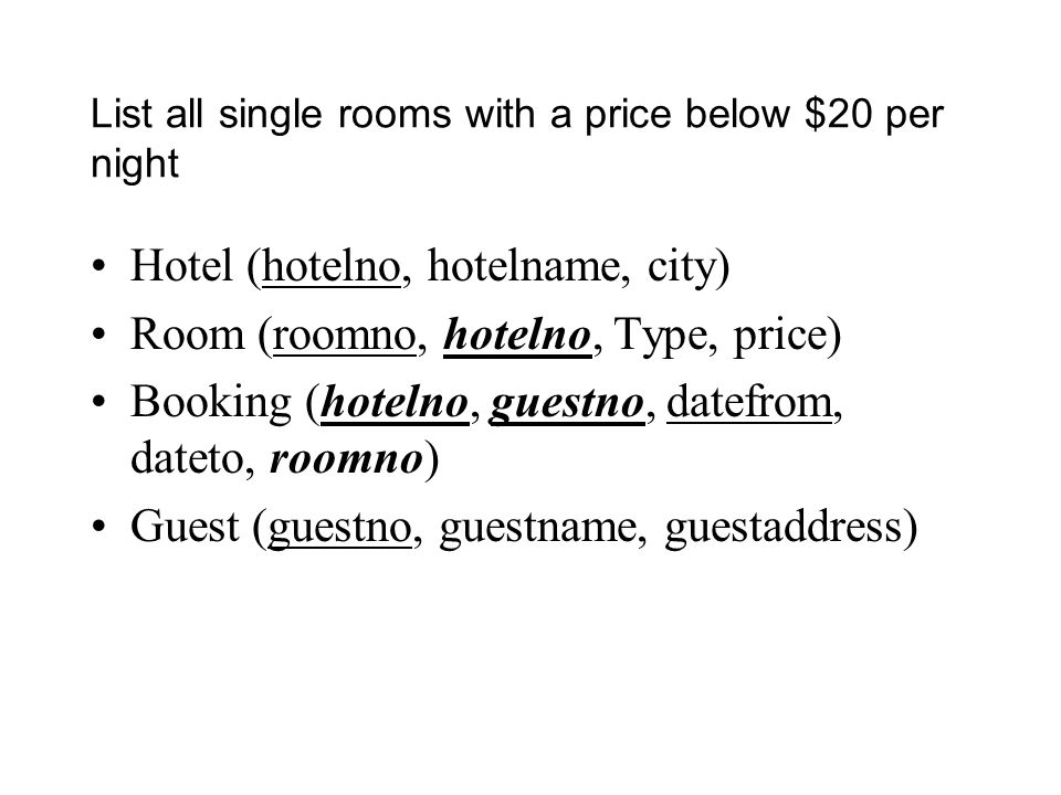 List all single rooms with a price below $20 per night