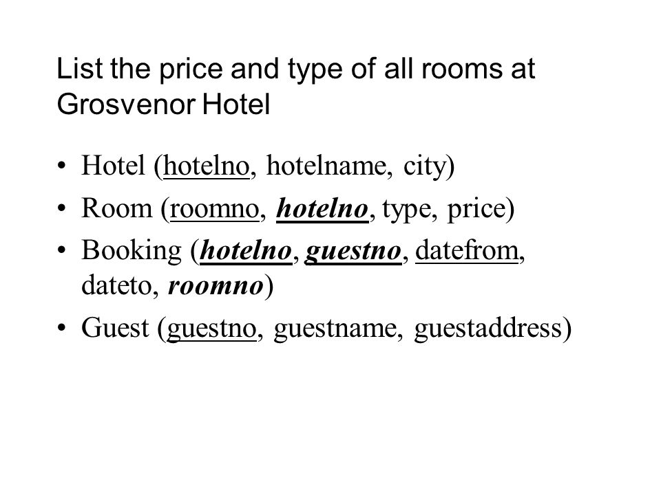 List the price and type of all rooms at Grosvenor Hotel