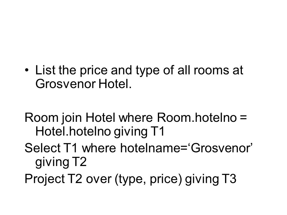 List the price and type of all rooms at Grosvenor Hotel.