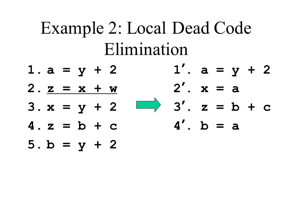 Example 2: Local Dead Code Elimination