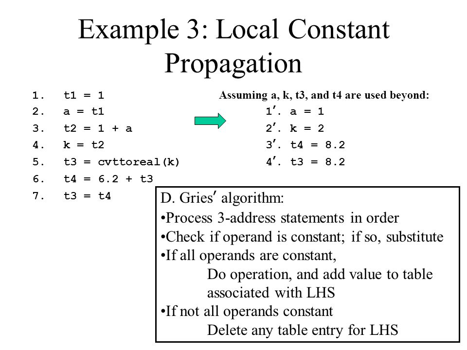 Example 3: Local Constant Propagation