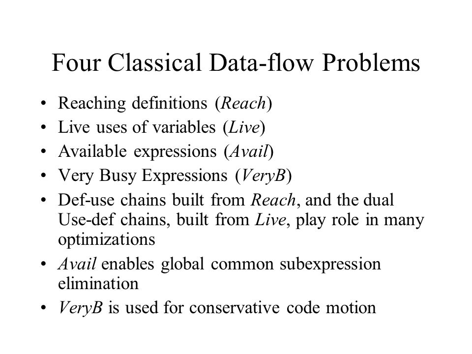 Four Classical Data-flow Problems