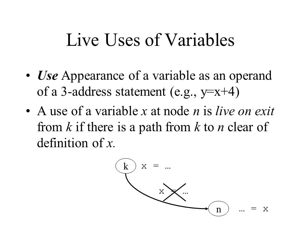 Live Uses of Variables Use Appearance of a variable as an operand of a 3-address statement (e.g., y=x+4)