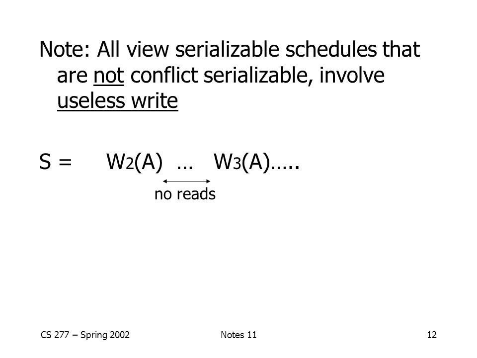 Note: All view serializable schedules that are not conflict serializable, involve useless write