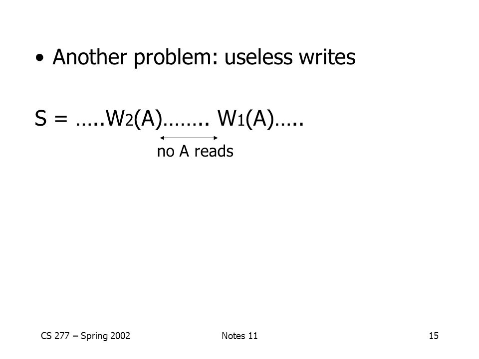 Another problem: useless writes S = …..W2(A)…….. W1(A)….. no A reads