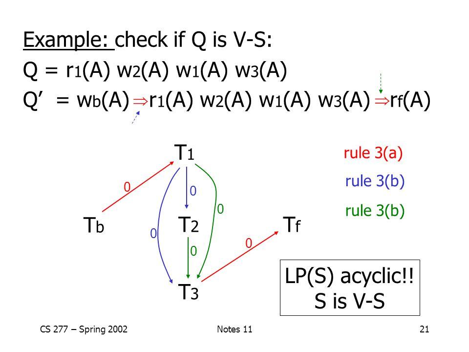 Example: check if Q is V-S: Q = r1(A) w2(A) w1(A) w3(A)