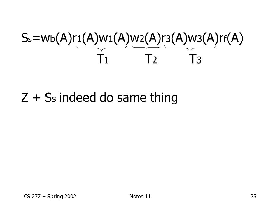 Ss=wb(A)r1(A)w1(A)w2(A)r3(A)w3(A)rf(A) T1 T2 T3