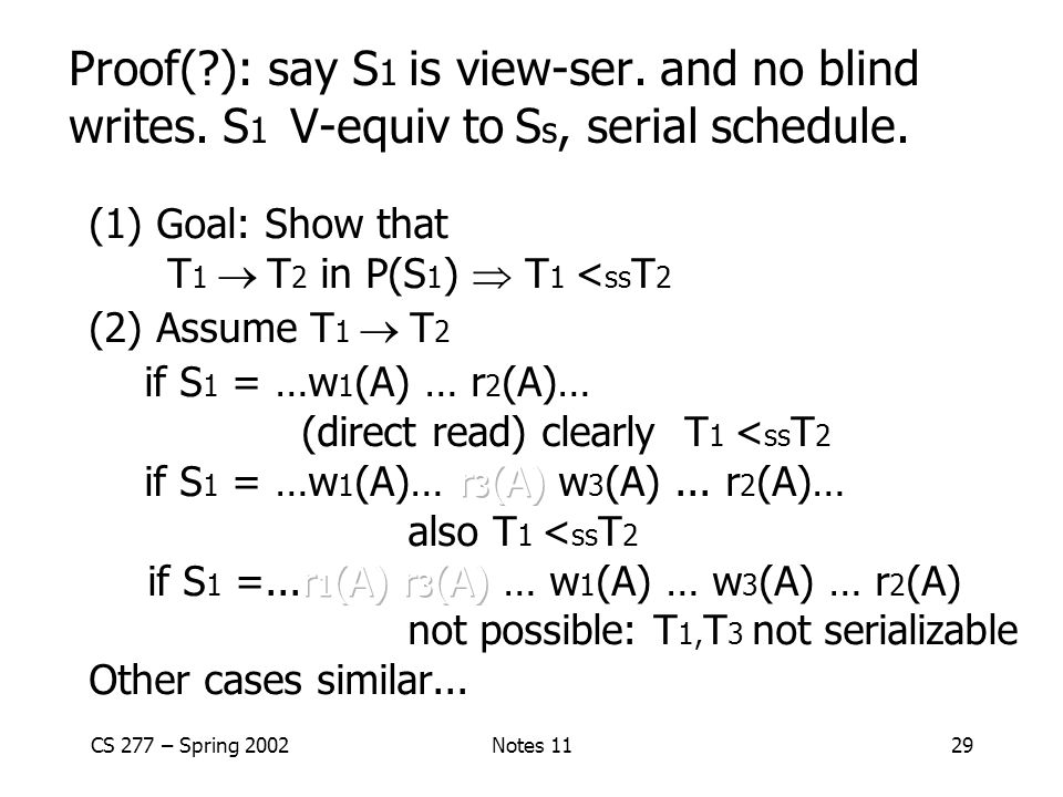 Proof(. ): say S1 is view-ser. and no blind writes