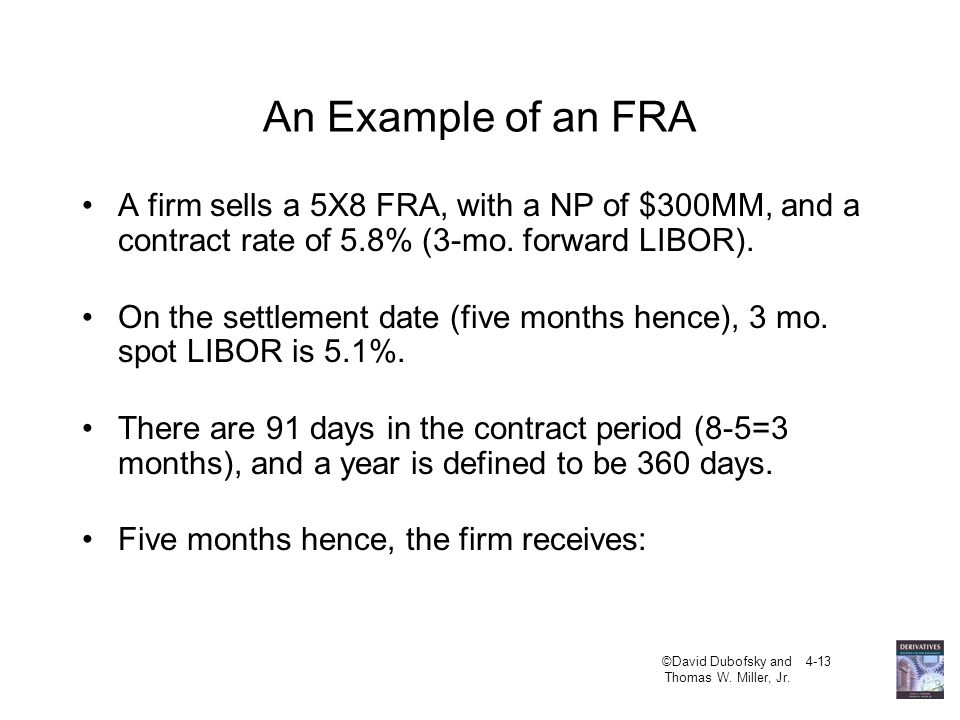 An Example of an FRA A firm sells a 5X8 FRA, with a NP of $300MM, and a contract rate of 5.8% (3-mo. forward LIBOR).
