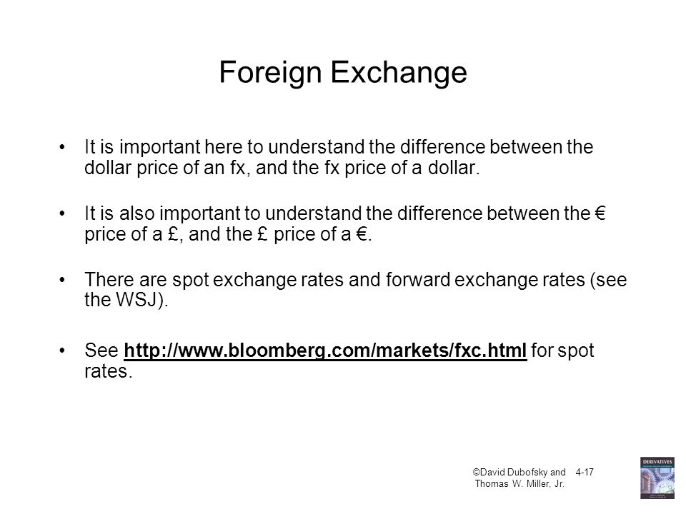 Foreign Exchange It is important here to understand the difference between the dollar price of an fx, and the fx price of a dollar.