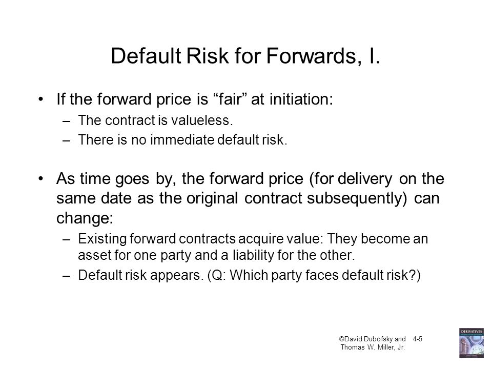 Default Risk for Forwards, I.