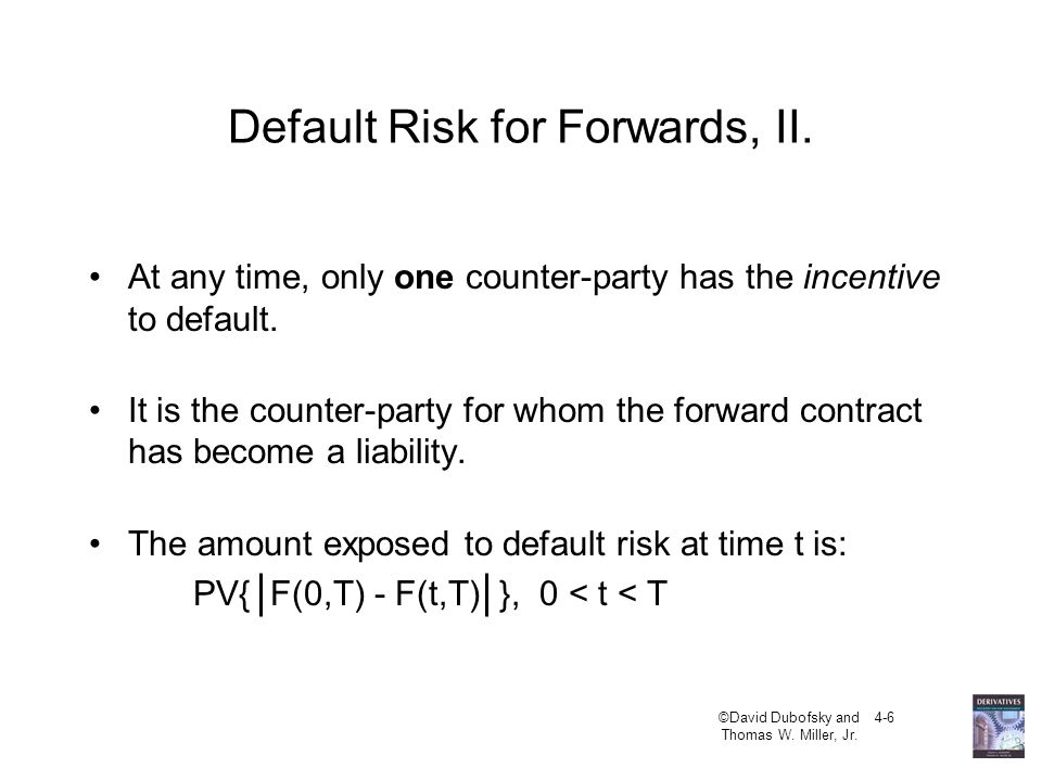 Default Risk for Forwards, II.