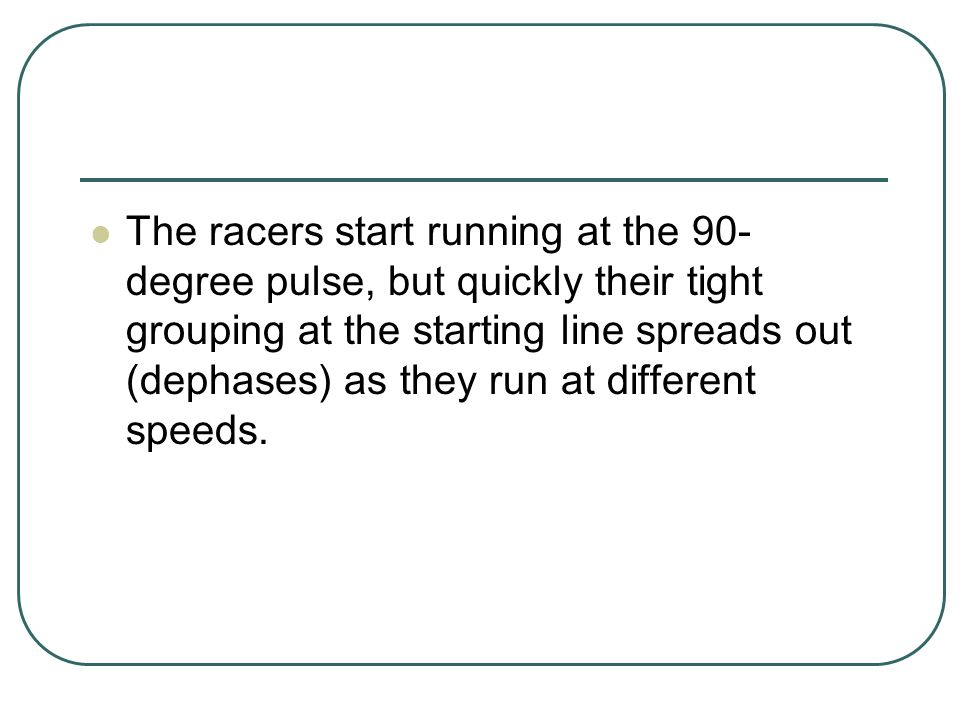 The racers start running at the 90-degree pulse, but quickly their tight grouping at the starting line spreads out (dephases) as they run at different speeds.