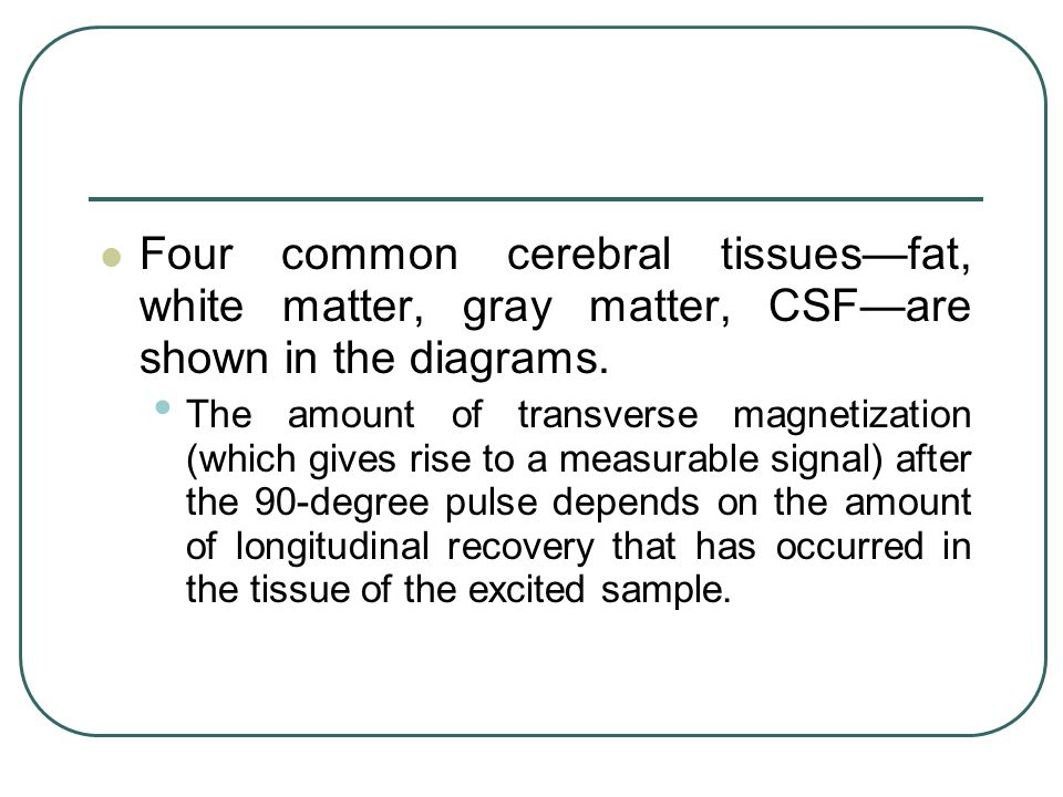 Four common cerebral tissues—fat, white matter, gray matter, CSF—are shown in the diagrams.