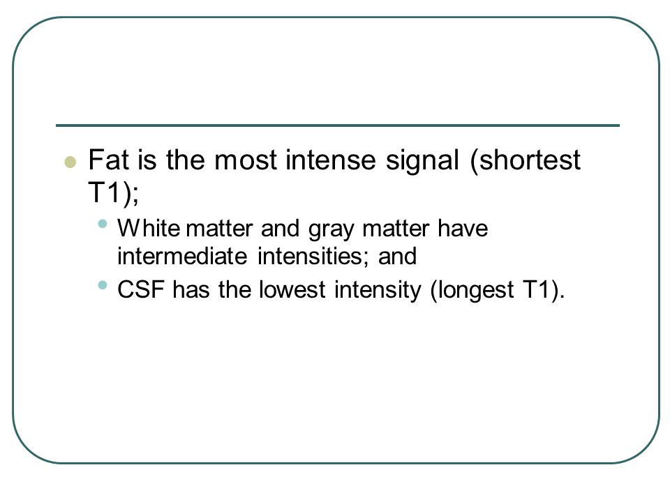 Fat is the most intense signal (shortest T1);