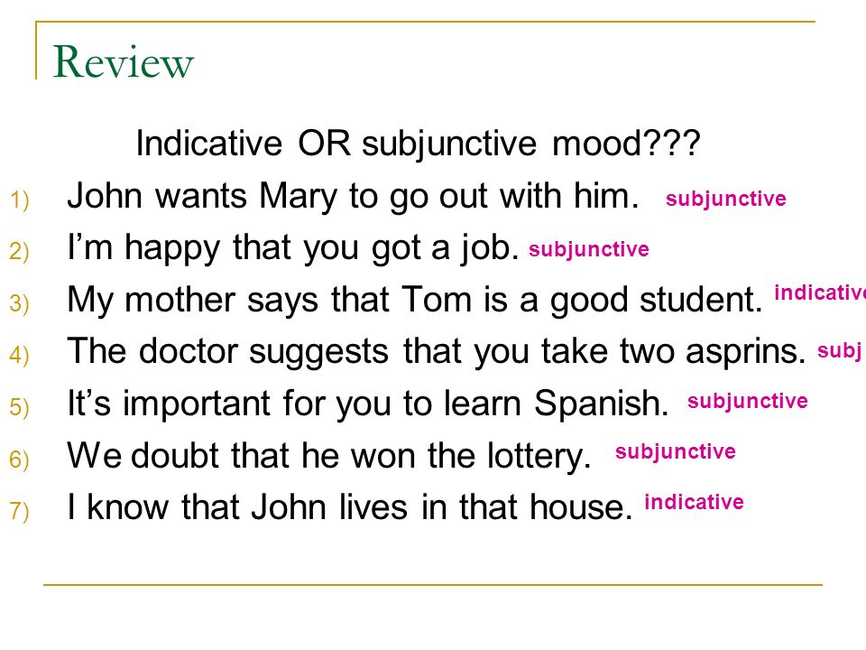 Indicative OR subjunctive mood