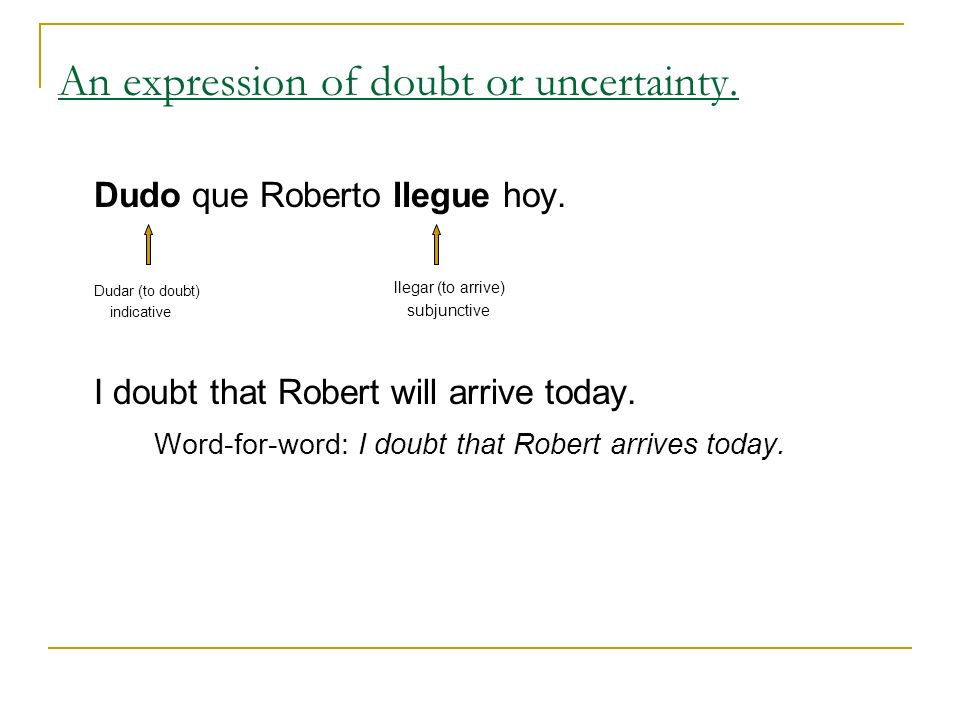 An expression of doubt or uncertainty.