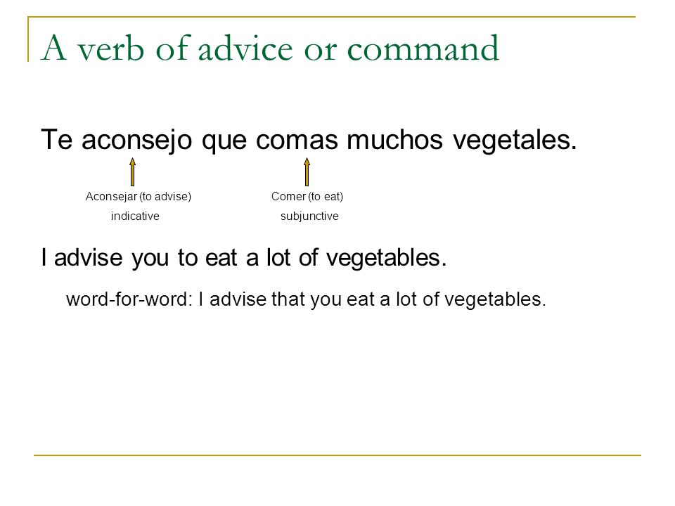 A verb of advice or command
