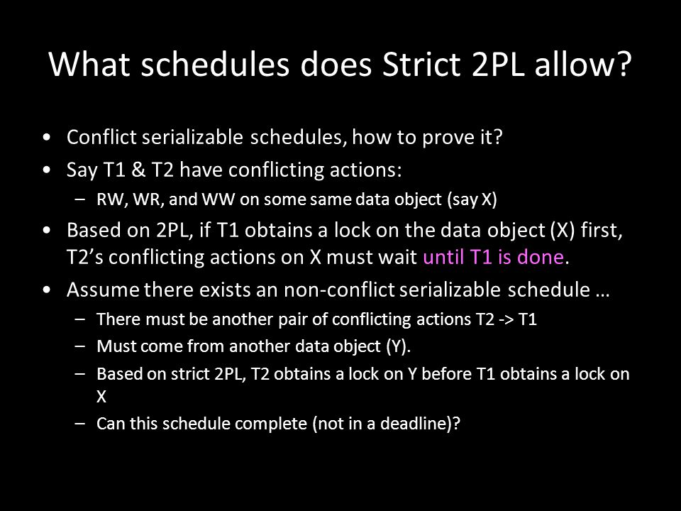 What schedules does Strict 2PL allow