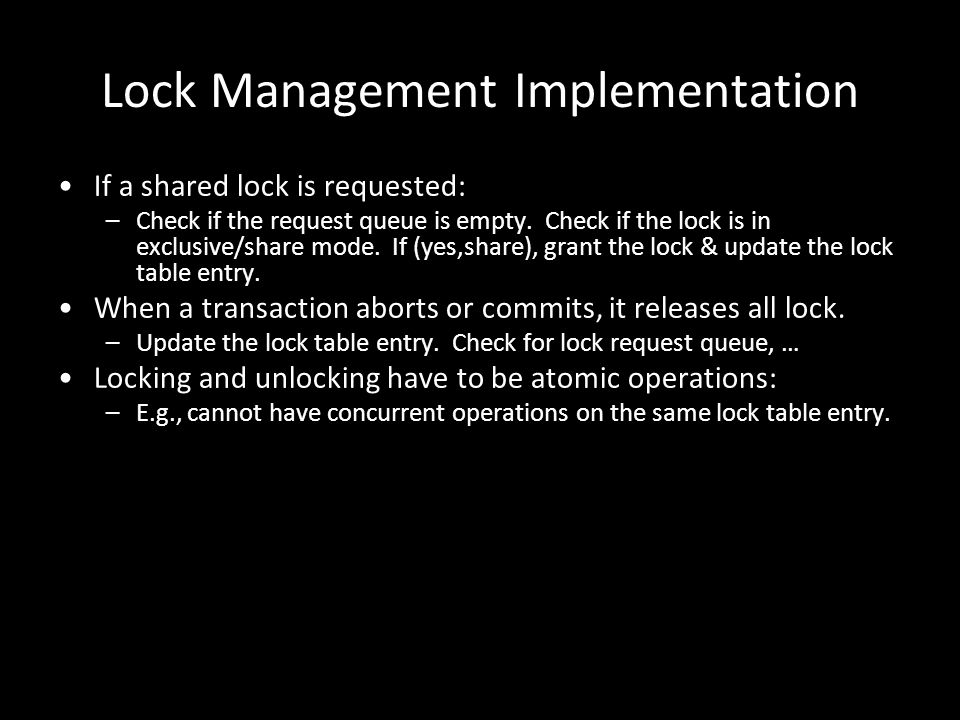 Lock Management Implementation