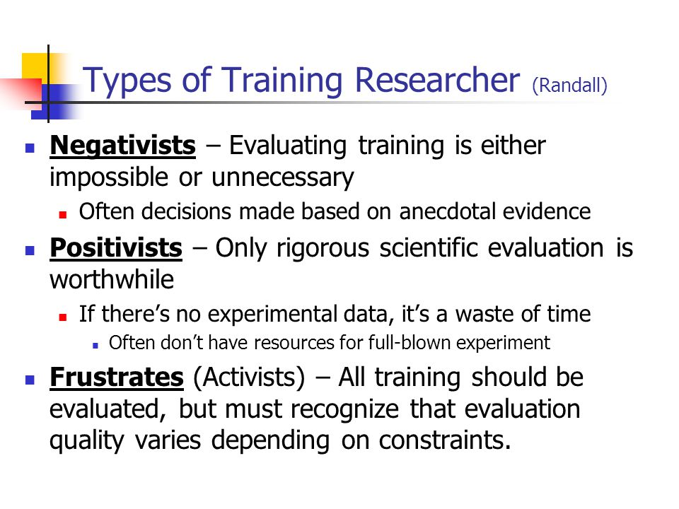Types of Training Researcher (Randall)
