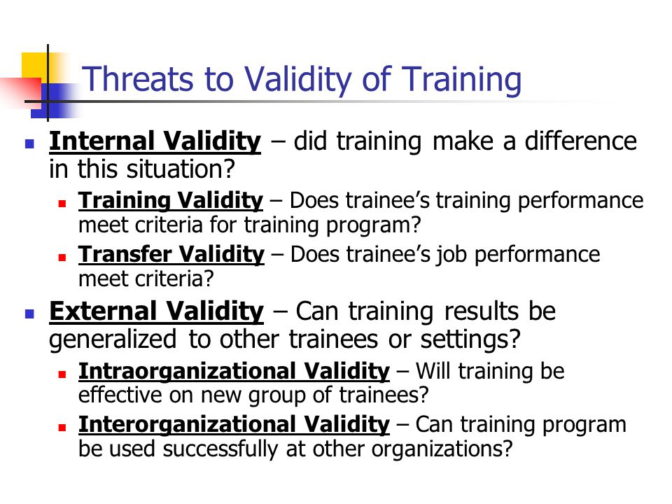 Threats to Validity of Training