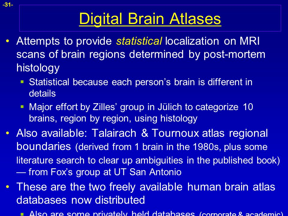 Digital Brain Atlases Attempts to provide statistical localization on MRI scans of brain regions determined by post-mortem histology.