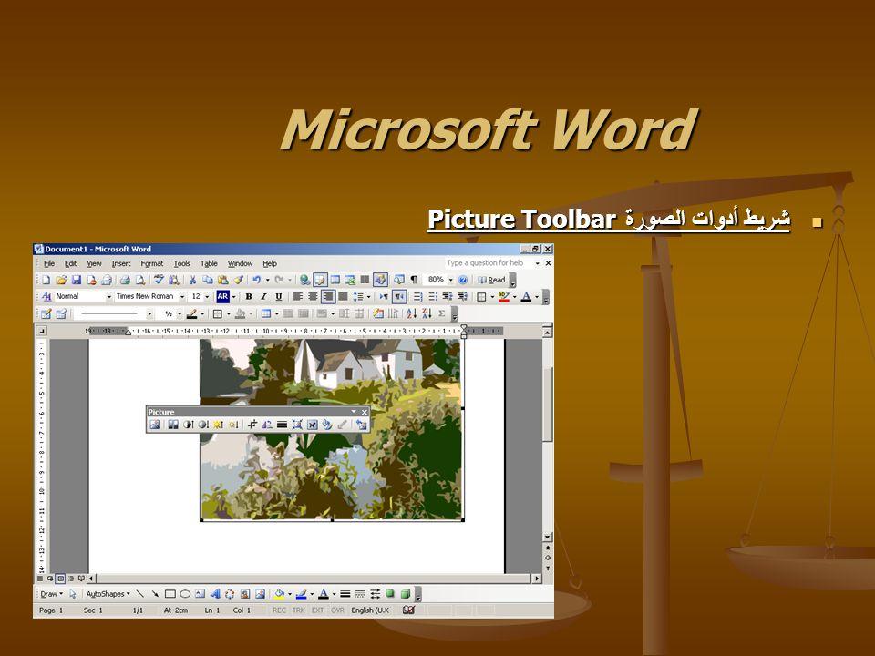 Microsoft Word شريط أدوات الصورة Picture Toolbar