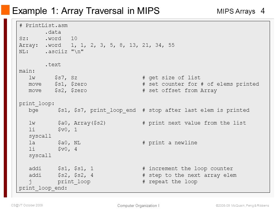 Example 1: Array Traversal in MIPS