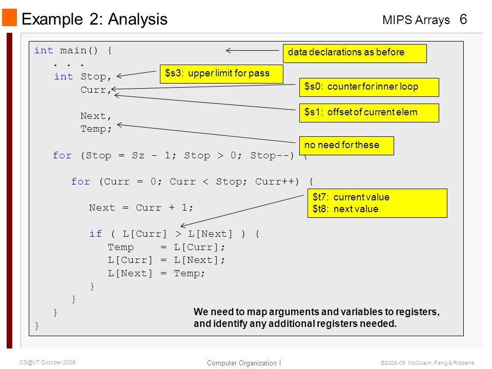 Example 2: Analysis int main() { . . . int Stop, Curr, Next, Temp;