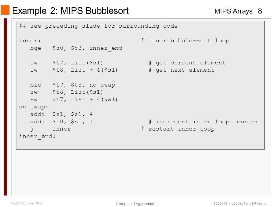 Example 2: MIPS Bubblesort