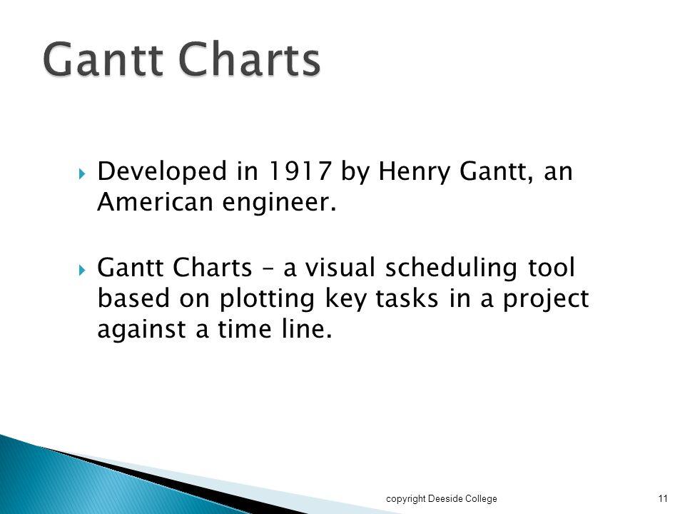 Gantt Charts Developed in 1917 by Henry Gantt, an American engineer.