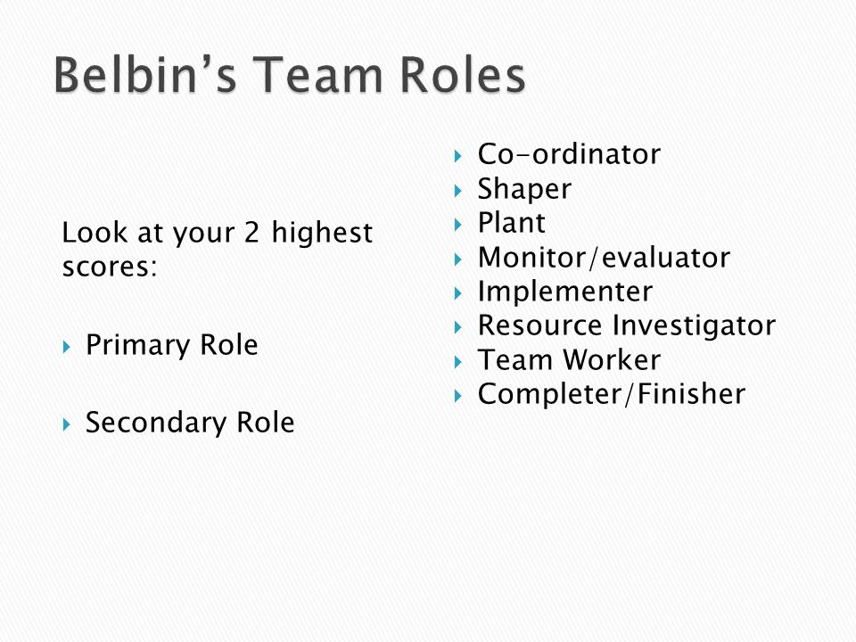 Belbin's Team Roles Co-ordinator Shaper Look at your 2 highest scores:
