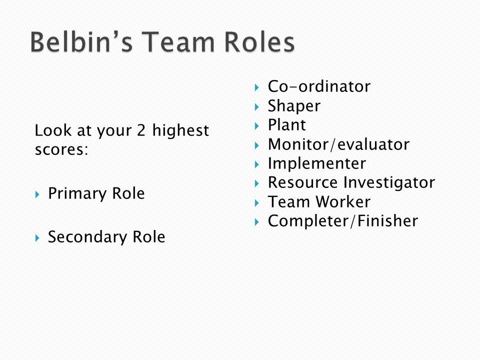 Belbin's Team Roles Co-ordinator Shaper Look at your 2 highest scores: