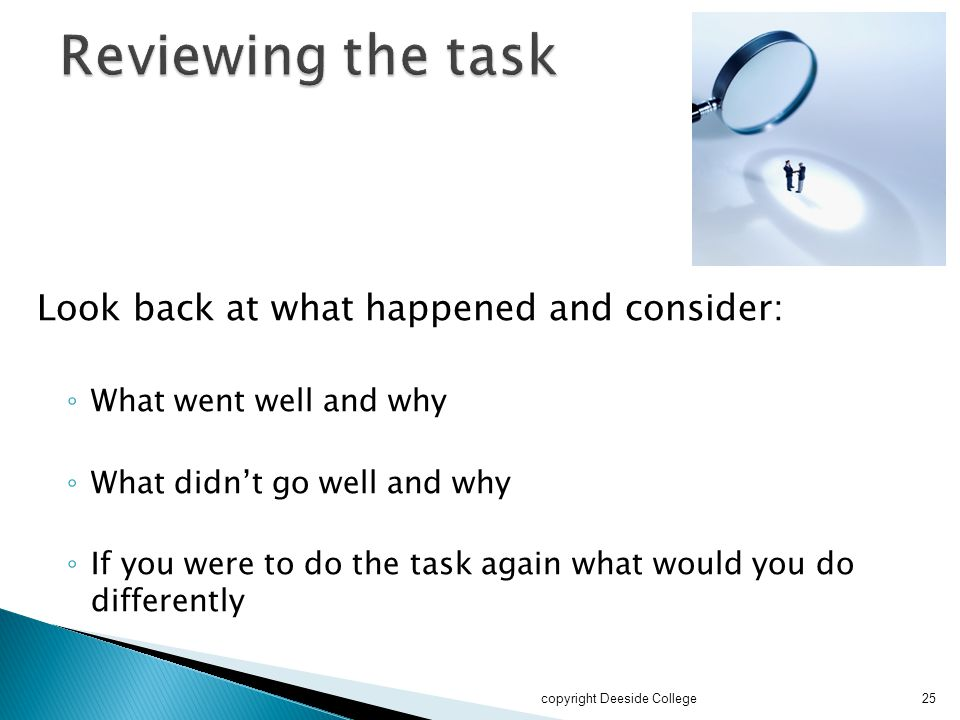 Reviewing the task Look back at what happened and consider: