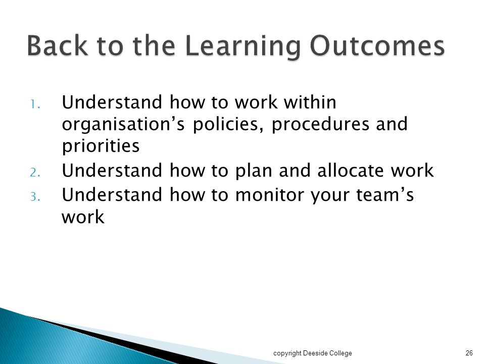 Back to the Learning Outcomes