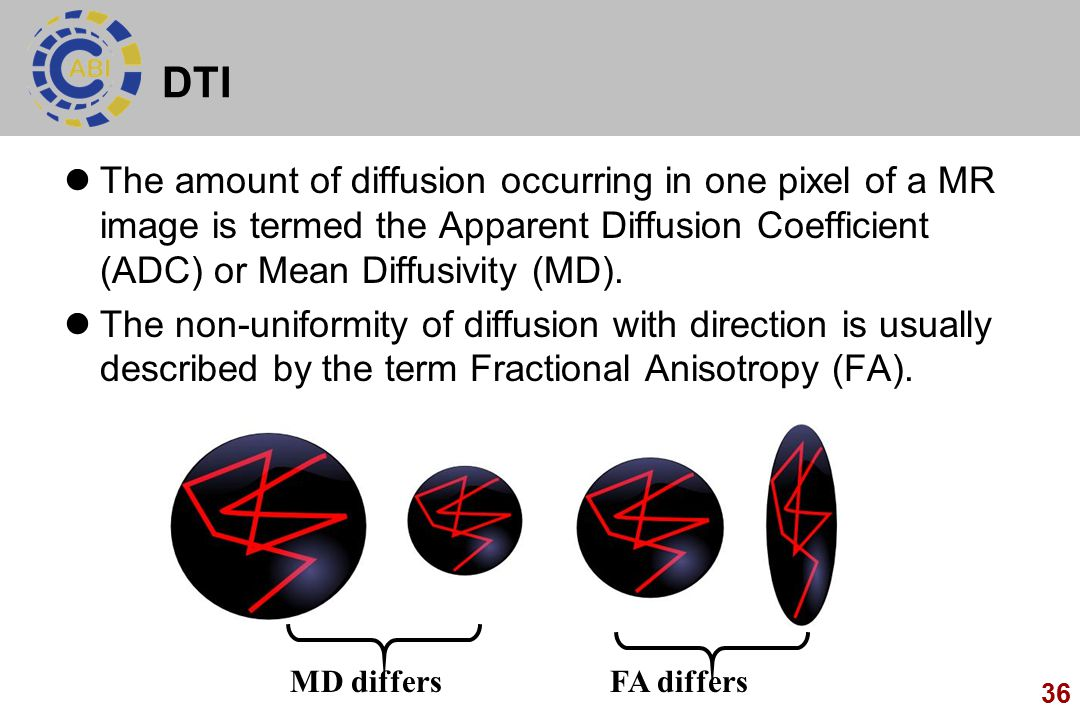 DTI The amount of diffusion occurring in one pixel of a MR image is termed the Apparent Diffusion Coefficient (ADC) or Mean Diffusivity (MD).