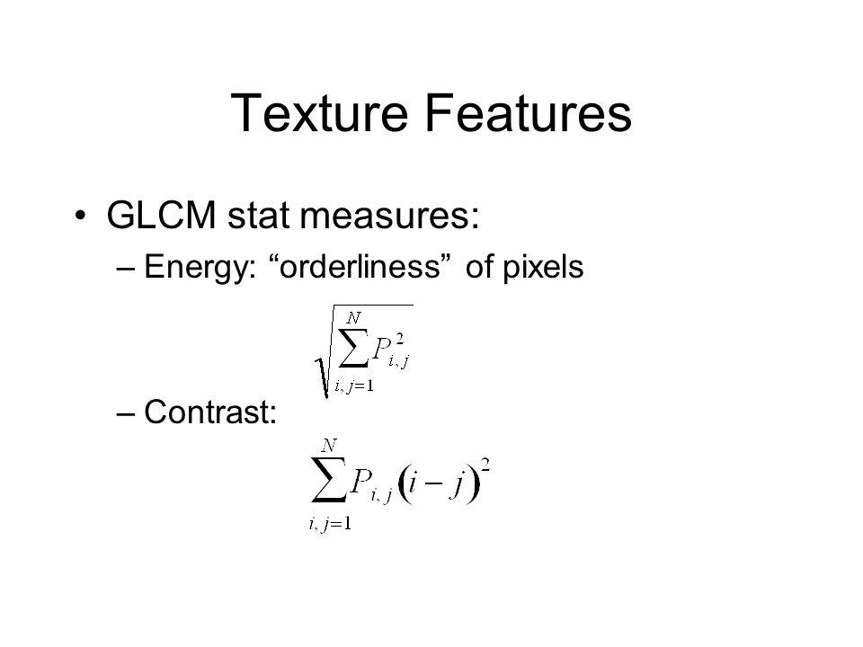 Texture Features GLCM stat measures: Energy: orderliness of pixels
