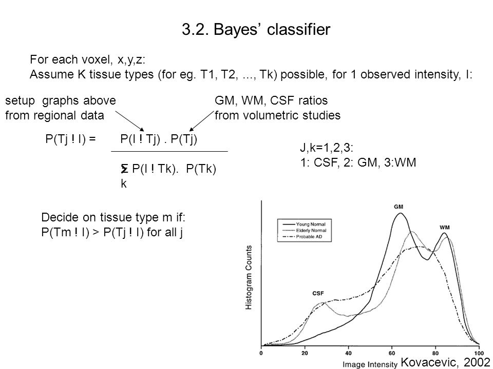 3.2. Bayes' classifier For each voxel, x,y,z: