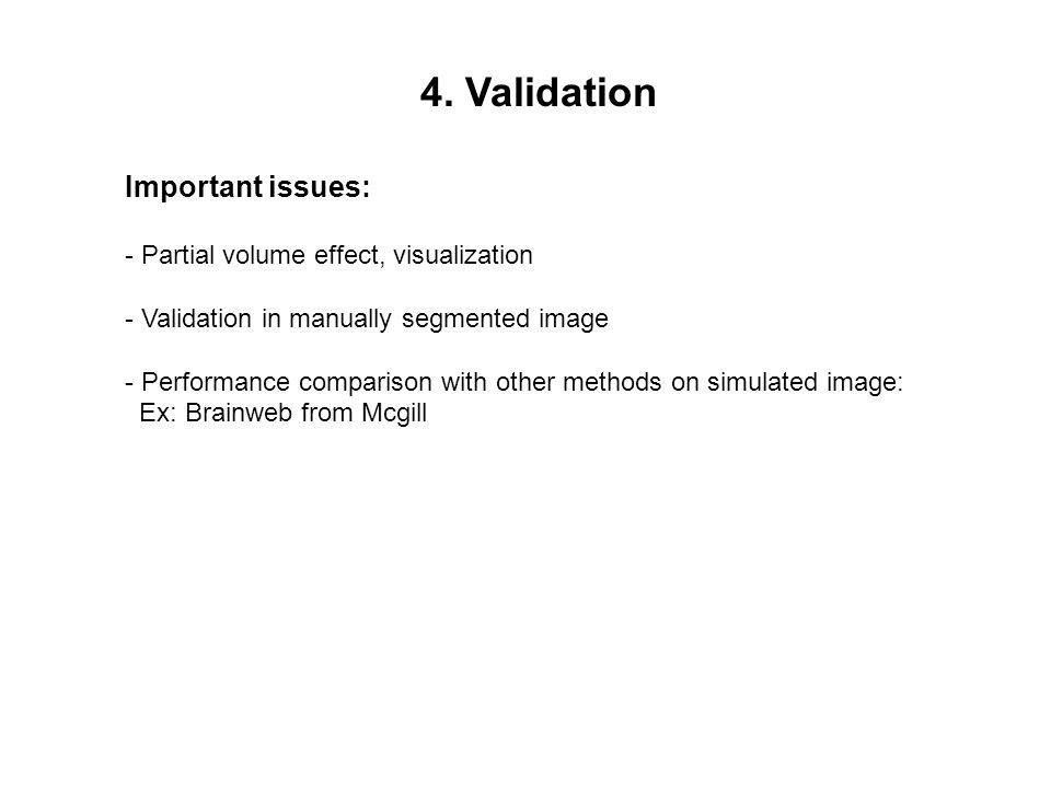4. Validation Important issues: - Partial volume effect, visualization