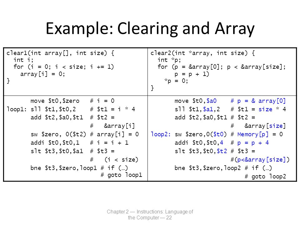 Example: Clearing and Array