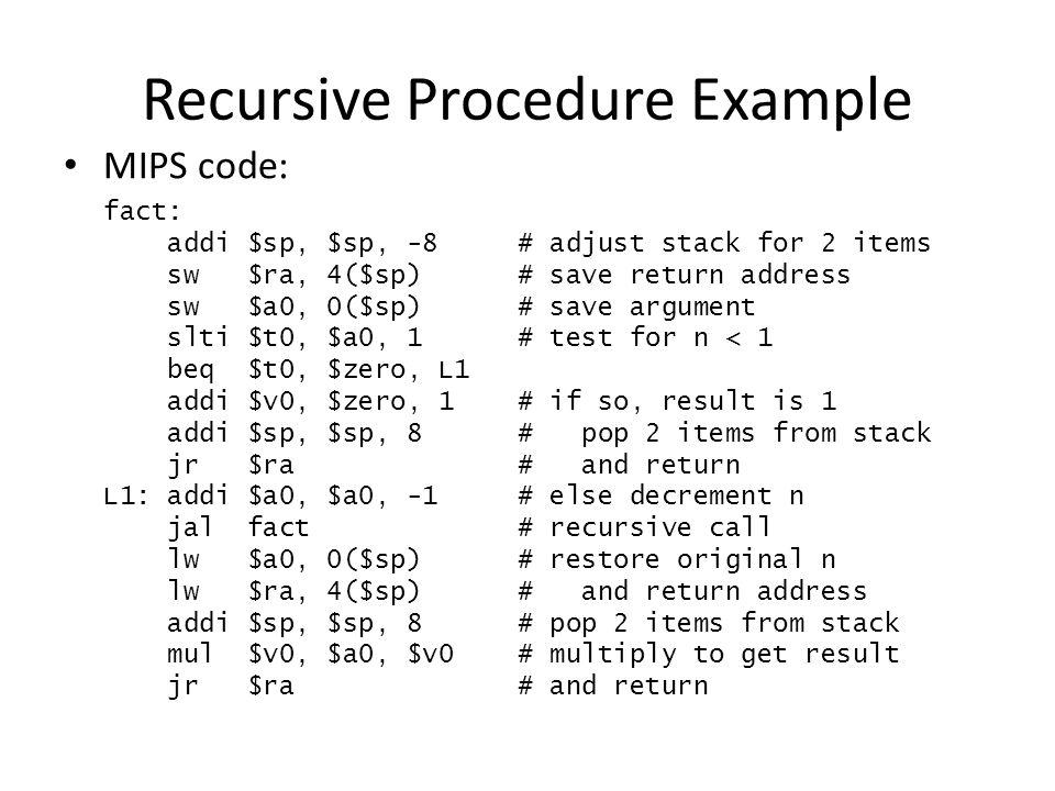 Recursive Procedure Example