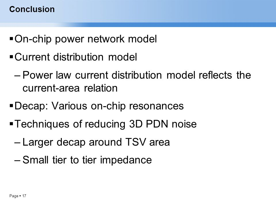 On-chip power network model Current distribution model