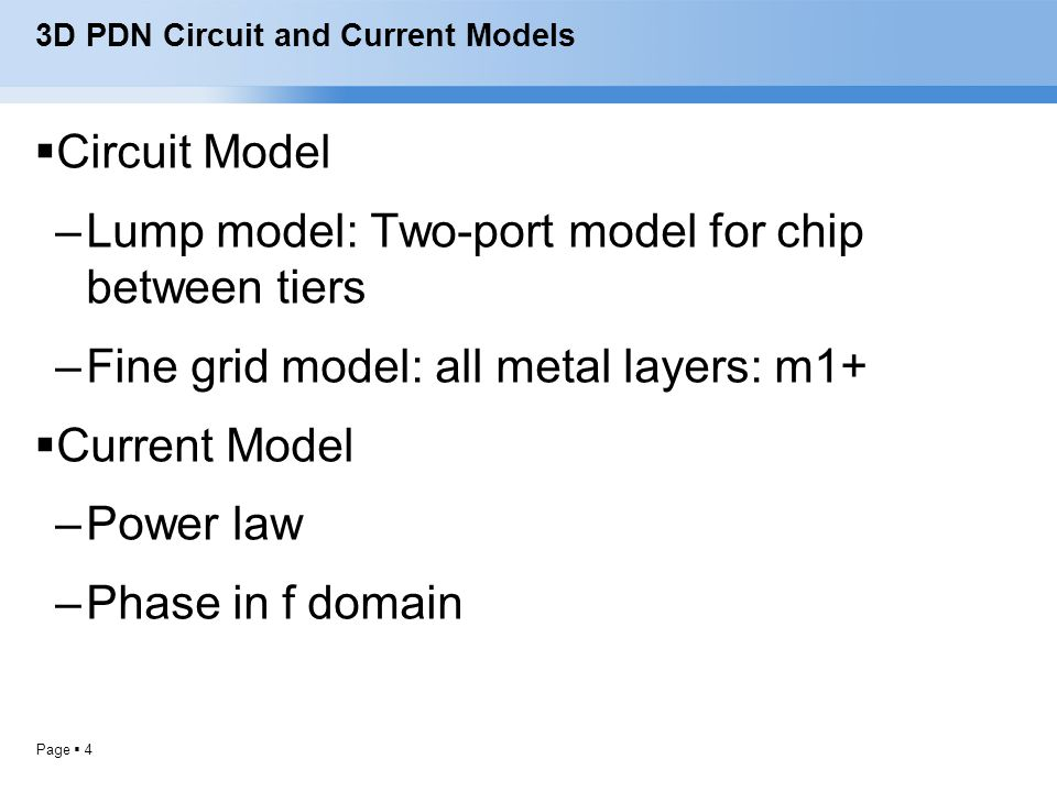 3D PDN Circuit and Current Models