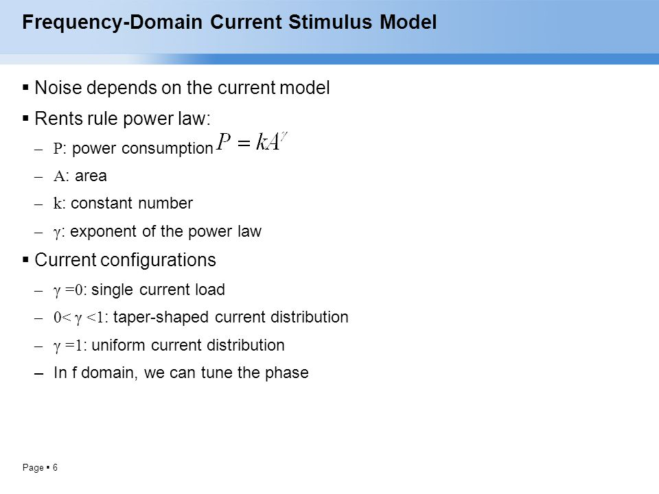 Frequency-Domain Current Stimulus Model