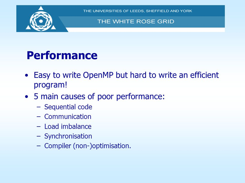 Performance Easy to write OpenMP but hard to write an efficient program! 5 main causes of poor performance:
