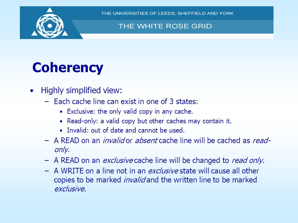 Coherency Highly simplified view: