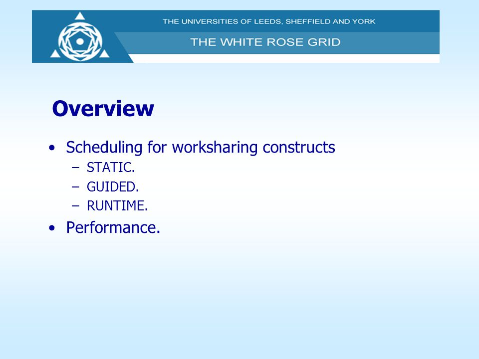 Overview Scheduling for worksharing constructs Performance. STATIC.