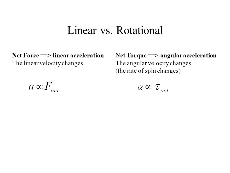 Linear vs. Rotational Net Force ==> linear acceleration